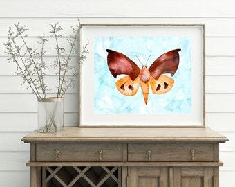 Brown Moth Art Print - Black Moth Artwork, Watercolor Moth, Printable Moth, Butterfly & Moth, Digital download, Moth Wall Decor, 3d Moth art