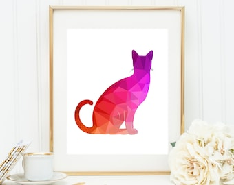 Purple Cat Art, Kitty Triangle Art, Cat Geometric Print, Rainbow Cat Poster, Multicolor Cat, Digital Cat Art, Printable Cat Art