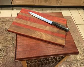 Walnut and Red Heart cutting board