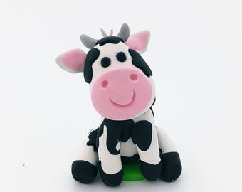 Cow Cake Topper, Cow Birthday, Cow Baby Shower, Farm Animal Cake Topper, Farm Cake Topper, Farm Birthday, Farm Topper, Polymer Clay Cow