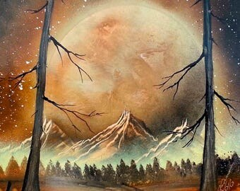 Brown painting Beige painting Scifi art Large planet Spray paint art Home wall decor Apartment wall art Fog Mountains Landscape Misty Forest