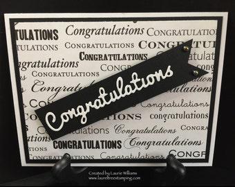 Congratulations Card, Handmade Card, Black and White Card, Sleek Congratulations Card