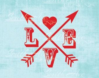 Valentine's Day Love Arrows Cross, SVG File, Quote Cut File, Silhouette or Cricut File, Vinyl Cut File