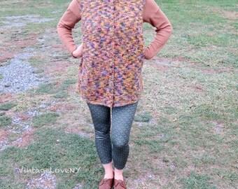 Vintage Wool Vest, Multi-colored Vest, Knitted Vest, Sweater Vest, Wool Vest, Womens Vest