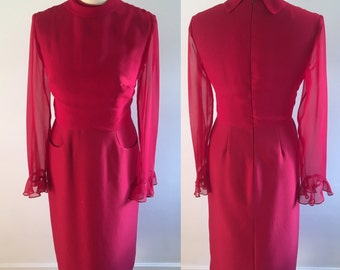 Vintage Peggy French Couture Rasperry Pink Pencil Dress - RESERVED