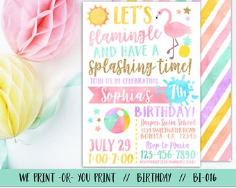Flamingo Invitation, Flamingo Birthday, Flamingle Invitation, Pool Party Invitation, Summer Birthday Invitation, Swimming Birthday