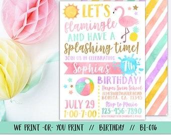 Flamingo Invitation, Flamingo Birthday, Flamingle Invitation, Pool Party Invitation, Summer Birthday Invitation, Swimming Birthday