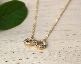 750 thousandth 3 microns infinite and cubic zirconia gold plated necklace