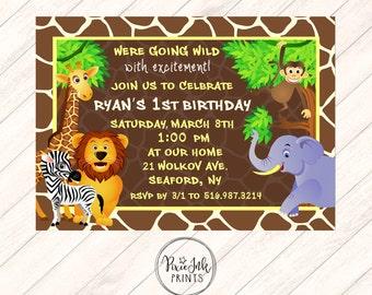 Jungle Birthday Invitation Jungle Birthday Photo Invitation