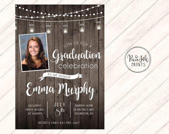 Rustic Graduation Party Invitation, Wood Graduation Invitation, Wood Background Invite, Class of 2017 Graduation Invitation, Grad Printable