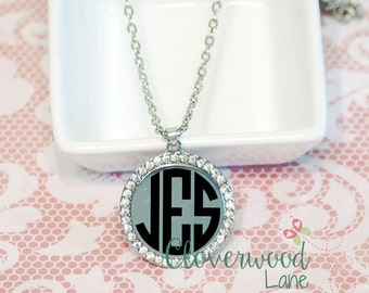Personalized Monogram Silver Rhinestone Necklace - Silver Disc Necklace