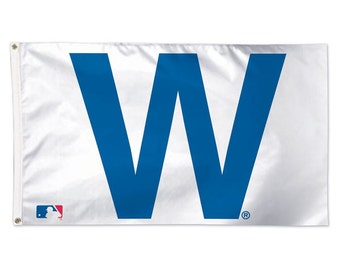 "Wrigley Field ""W"" Logo Chicago Cubs MLB Banner Flag 3' x 5' (36"" x 60"") NEW"