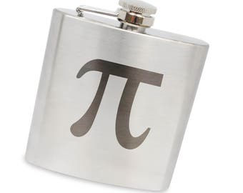 Pi 6 Oz Flask, Stainless Steel Body, Handmade In Usa