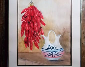Southwestern watercolor Painting by Dolores Native American Art
