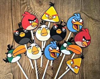 ANGRY BIRDS Cupcake Toppers / Cake Toppers / Die Cuts / Birthday Party / Decorations / Cake Pops / Supplies / Decor / Fast Shipping