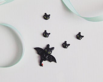 Set Toothless necklace + Toothless earrings How to train your dragon fimo handmade