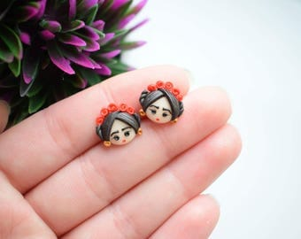 Fimo handmade earrings inspired by Frida Kahlo