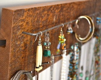rustic jewelry rack, jewelry display rack, jewelry organizer, jewelry wall hanger, jewelry hooks