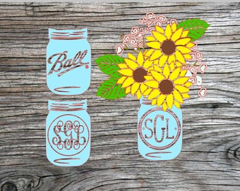 mason jar with sunflowers- 3 options on jar, mason jar decal, sunflower decal, car decal, truck decal, jeep decal,  southern decal, monogram