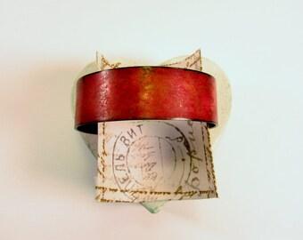 """Fiery Red Antique 3/4"""" Copper Cuff Bracelet"""