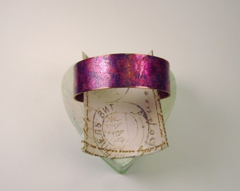 Purple Swirl 3/4 Copper Cuff Bracelet