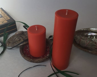 Orange Pillar Candles