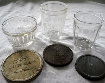 Vintage Canning Jelly Jars with Lids, Hazel Atlas, Ball, Kerrs, Three Jars