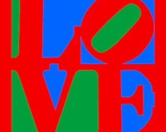 Love Pop Art on canvas (20x20)Philadelphia Love -Canvas Art-Prints-Gallery wrapped.