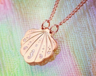 Shell Necklace, Mermaid Necklace, Rose Gold Seashell