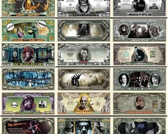 COMPLETE COLLECTION: Classic Horror Movie 1 Million Dollar Novelty Bill Collection! Hunchback, Dr. Jekyll, Dracula, Lagoon, Wolfman, mummy