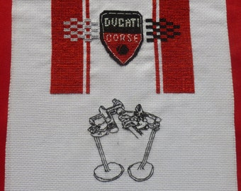 Ducati Motorcycle Cross Stitch Unframed Picture with desmodromic valve system and Ducati Corse Flag