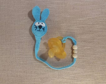 Bunny Pacifier Clip, Soother Holder, Rabbit binky clip, dummy clip, paci clip, dummy chain, soother clip, chew beads, binky holder