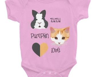 ZuzuPumkinLove Infant Onesie - Bunny Onesie - Rabbit Onesie - Cat Onesie - Kitten Onesie - Baby Onesie