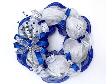 MADE TO ORDER: Dragonfly Wreath - Sapphire Blue