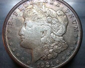 USA 1921-S Silver Morgan Dollar AU Condition! Toned