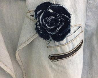 wedding, brooch,Blue denim rose  brooch pin,Unique brooch,Charm|,Accessories,For Her|,Fashion Accessories, Charm,Decor, Womens ,Girlfriend