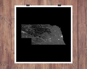 Nebraska Roads High Resolution Digital Print / Map of Nebraska / Nebraska Print / Nebraska Wall Art / Nebraska Poster / Nebraska Map Art