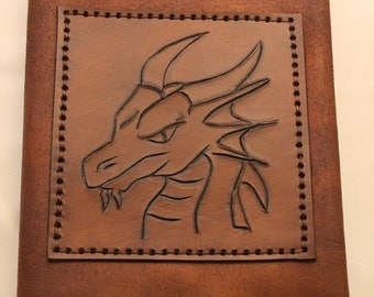 Handmade, Hand Carved A5 Leather Dragon Refillable Diary/Notebook/Journal Cover
