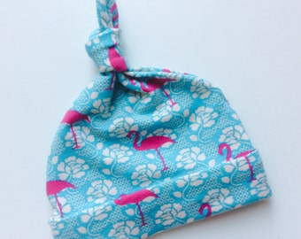 Baby hat with knot flamingo Turqoise and dandruff
