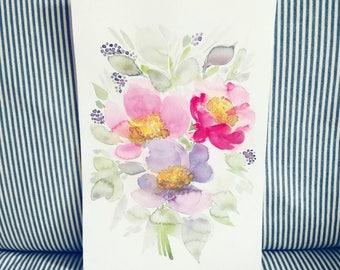 """Original WATERCOLOR Painting 8x12"""" Flowers """"Flowers of May, Peonies"""" floral painting // Flowers // Floral painting // size: 20x30 cm"""