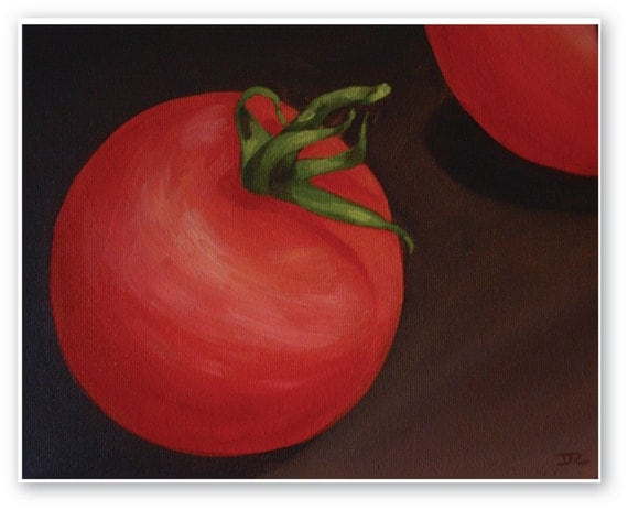 A Vine Tomato - Original Painting Printed on Canvas, Fine Art Print, Ready To Hang, Food Art