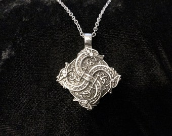 Large Handcast Double Sided 925 Sterling Silver Celtic Entwined Dragon Dragons Pendant + Free Chain