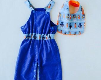Rocket Ships & Robots Overalls Size 00 dungaree with bonus minky bib boys baby shower gift