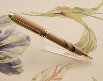 Apple wood segmented wood pen with stripes