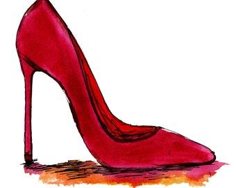 stiletto art, glamourous art, fashion ink, catwalk watercolor painting, fashion illustration original, retro 1950s, stiletto print