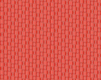 Red Geometric Fabric - Ardently Austen Fabric - Red Cotton Material
