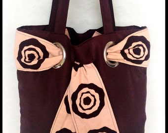Handbag for women Wax and cotton Brown and beige fabric printed, hand
