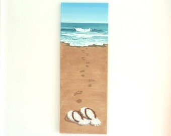 Flipflops & Footprints in Seashell Mosaic on Sand