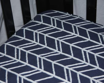 Fitted Crib Sheet- Navy Herringbone