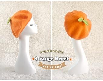 Orange Beret - 100% natural wool soft hat - order to make